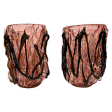 Costantini Italian Pair of Monumental Black Amethyst Clear Murano Glass Vases