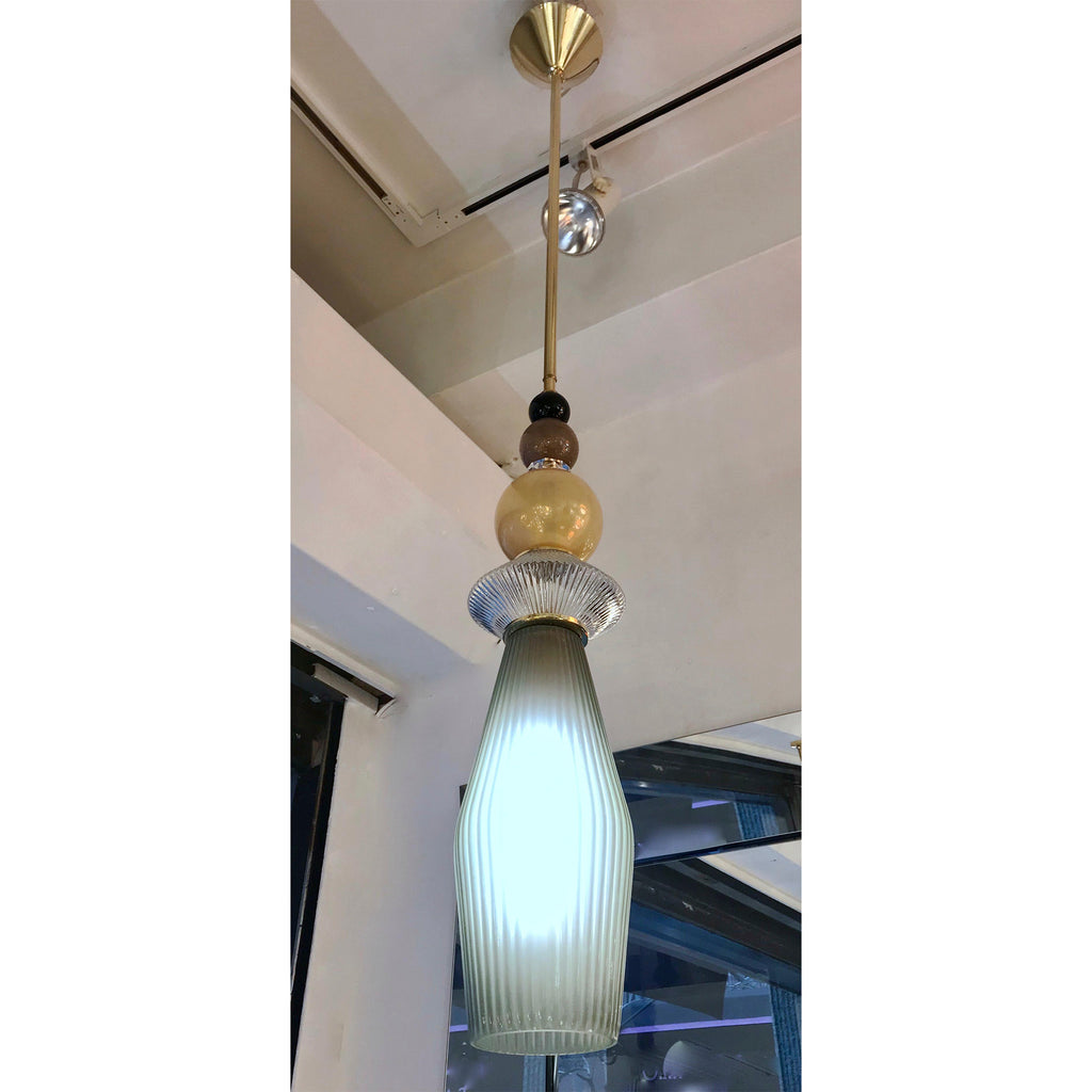 Custom Italian Crystal Gold and Gray Green Murano Glass Brass Pendant Light
