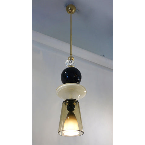 Contemporary Crystal Black & White Smoked Murano Glass Pair of Pendant Lights