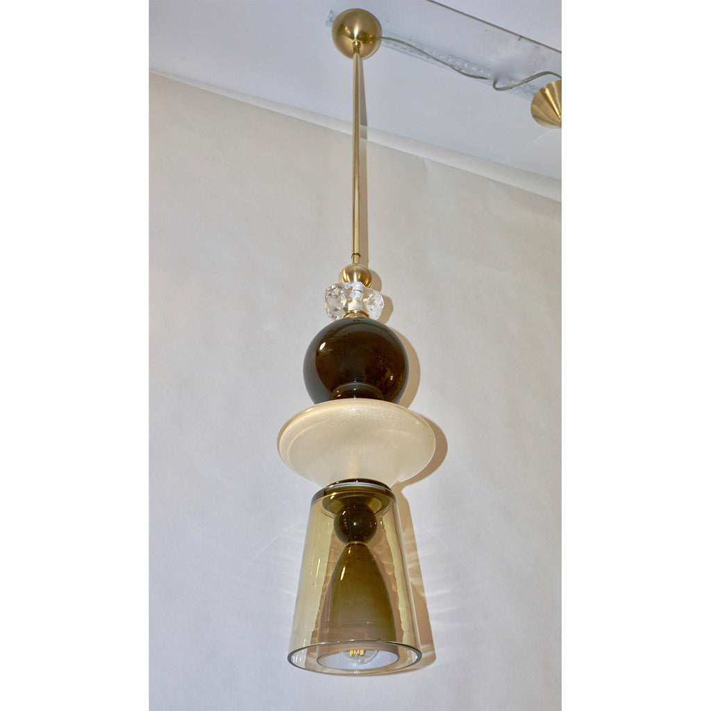 Contemporary Crystal Black & White Smoked Murano Glass Pendant Light