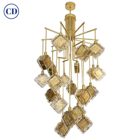 Contemporary Italian Geometric Design Gold Crystal Murano Glass Brass Chandelier