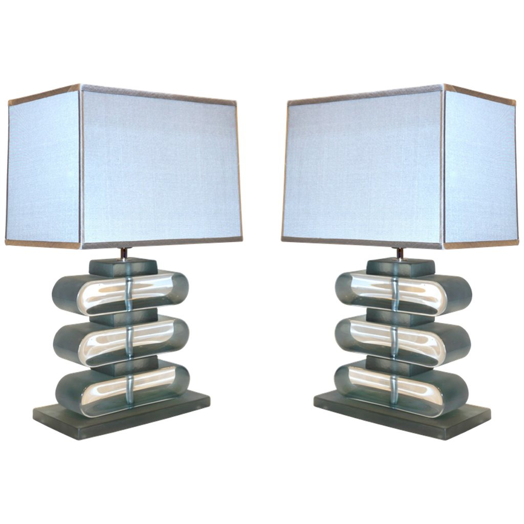 Italian Modern Pair of Nickel and Smoked Aqua Murano Glass Architectural Lamps
