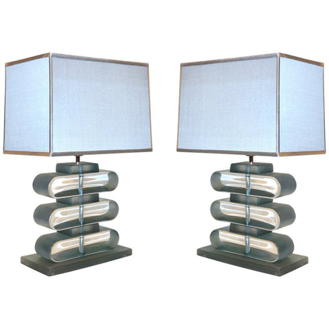 Italian Modern Pair of Nickel and Smoked Aqua Murano Glass Architectural Table Lamps