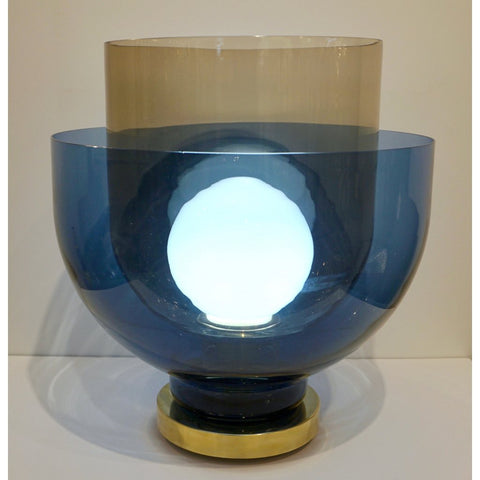 1980 Italian Monumental Blue & Smoked Gray Murano Glass Modern Lamp / Floor Lamp