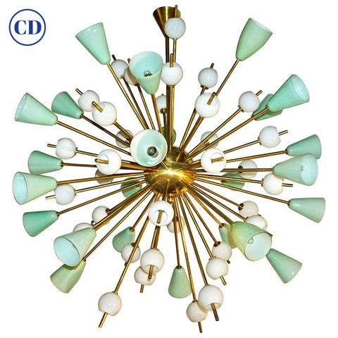 Contemporary Italian White & Mint Green Murano Glass Sputnik Brass Chandelier