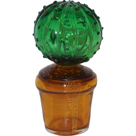 1990s Vintage Italian Vivid Green Murano Glass Small Cactus Plant in Gold Pot
