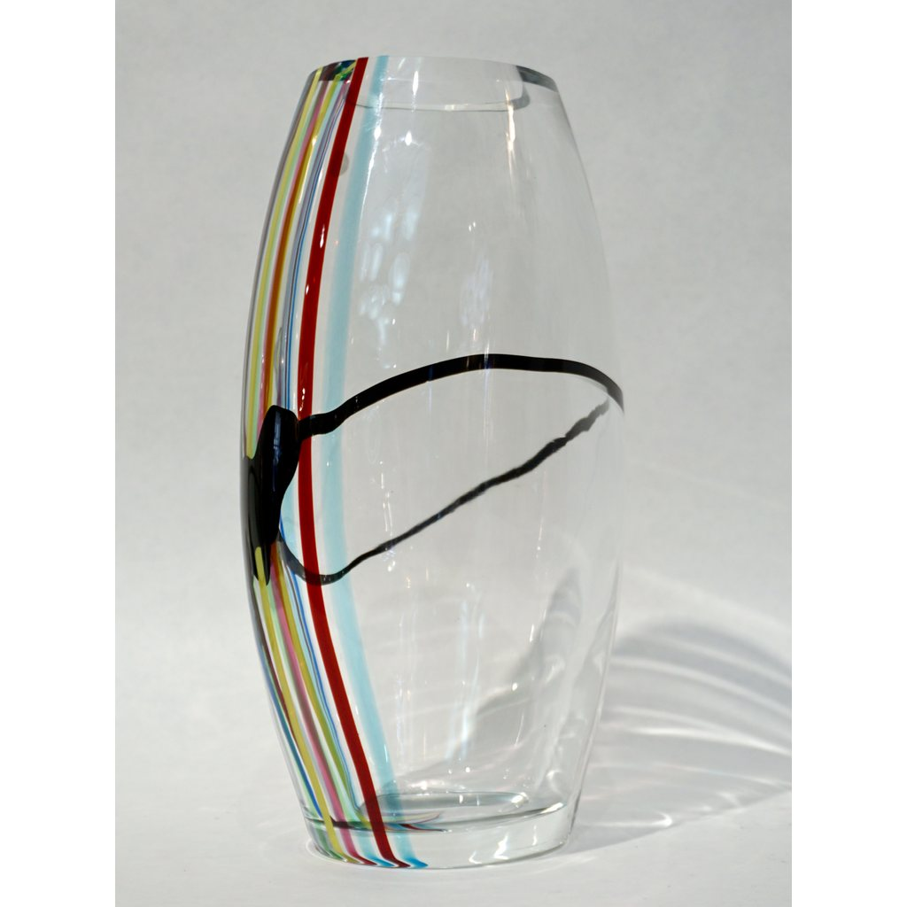 Formia 1970 Italian Tall Yellow Green Red Blue Crystal Murano Glass Pop Art Vase