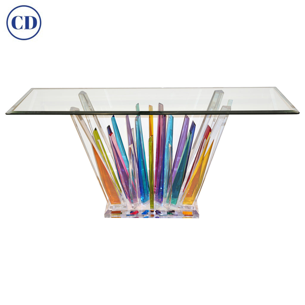 Rock Acrylic Blue Purple Yellow Multicolor Console with Clear Bevelled Glass Top