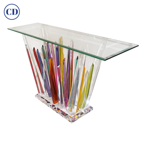 Rock Acrylic Multicolor Console of Abstract Design with Clear Bevelled Glass Top