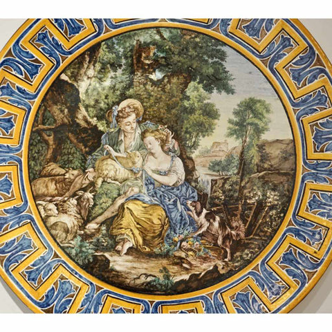 1870s French Rococo Revival Yellow Blue White Enamel Pottery Wall Art Plaque