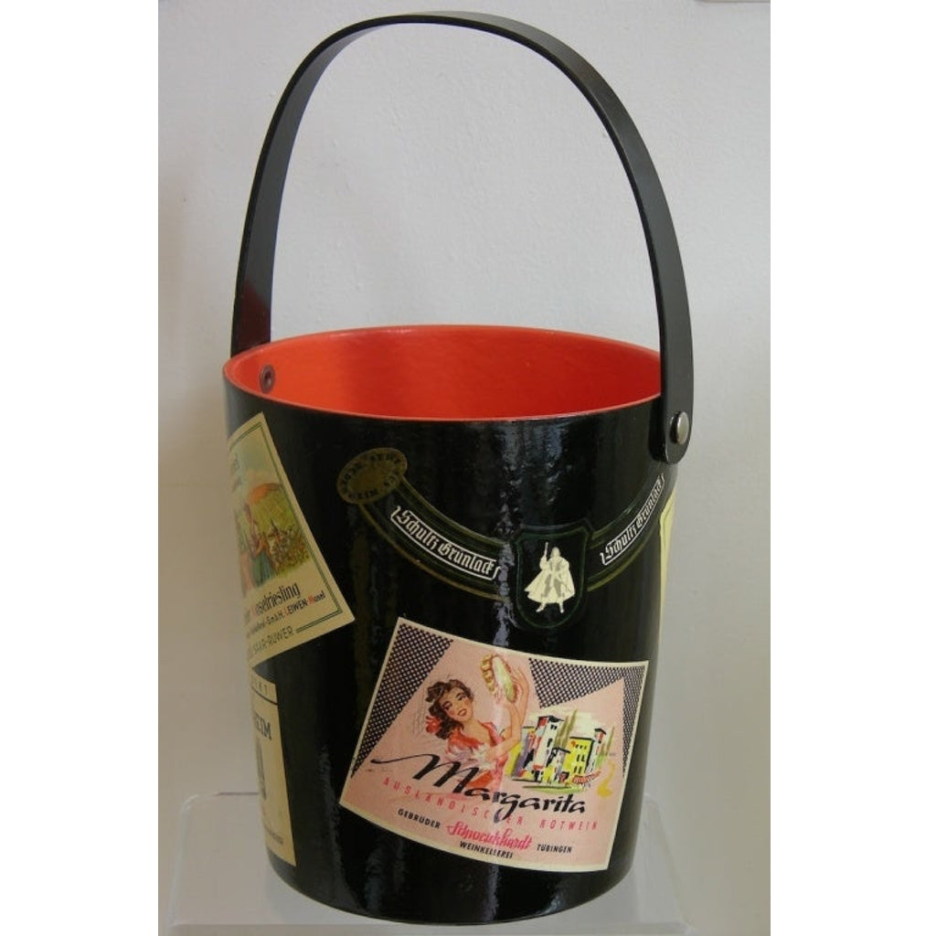 1950s German Black and Red Lacquered Barware Ice Bucket with Wine Labels Decor