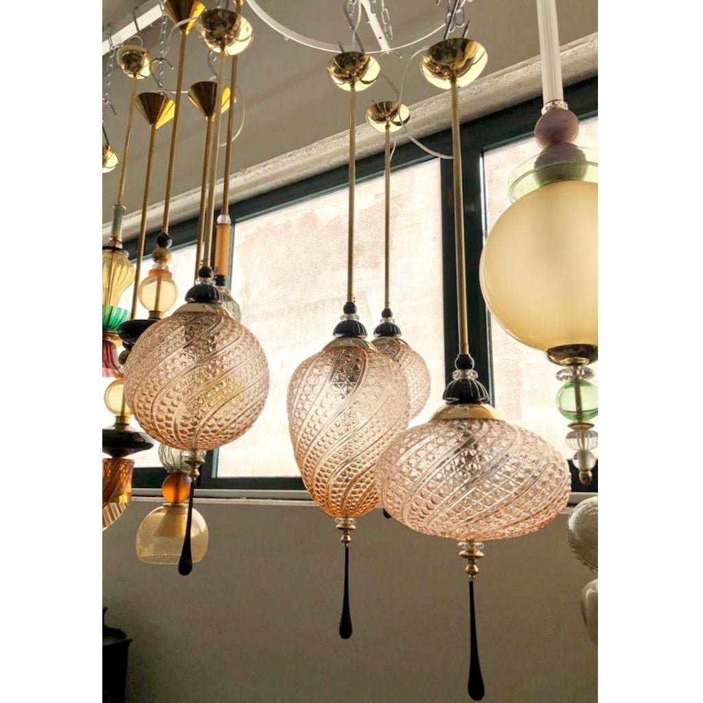 Bespoke Italian Round Black and Pink Crystal Murano Glass Brass Pendant Light