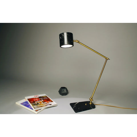 Custom Italian Mid-Century Modern Style Black Marble Brass Adjustable Table Lamp