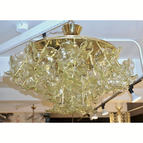 1970s Italian Buttercup Yellow Murano Glass Flower Brass Chandelier/Flush Mount