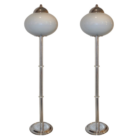Italian 1970s Silver Leaf Crystal and Pearl Gray Murano Glass Nickel Floor Lamp