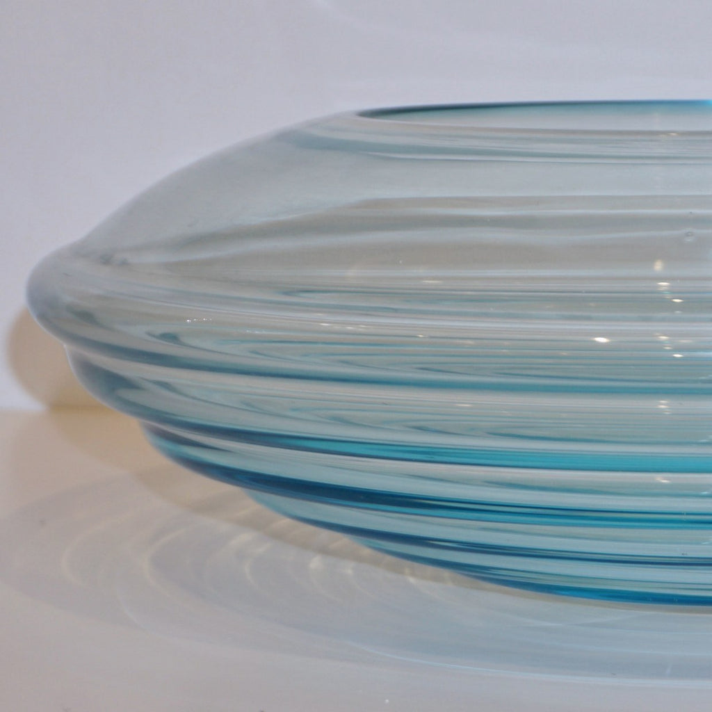 Giampaolo Ghisetti 1970s Vintage Round Aquamarine Blue Murano Glass Ribbed Bowl