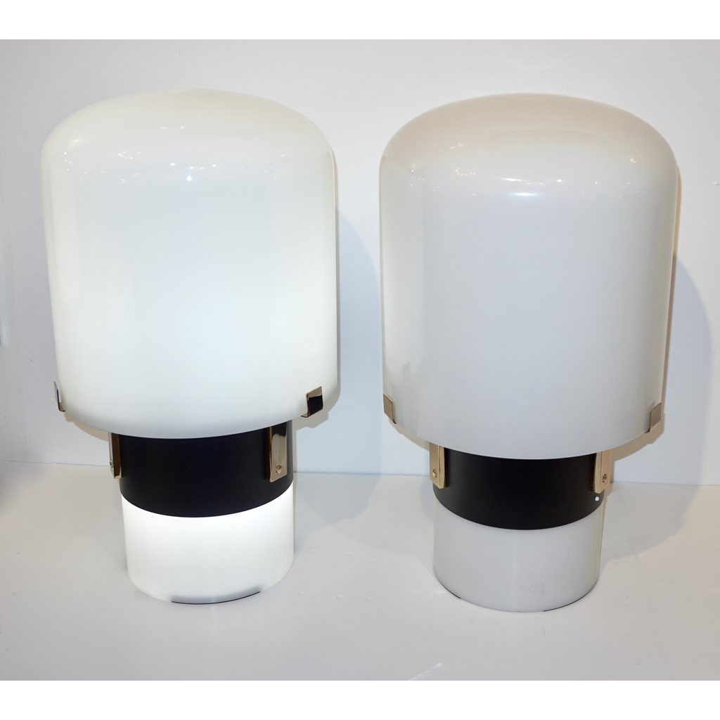 1970 Italian Minimalist Pair of Black White Glass Double-Lit Lucite Modern Table Lamps