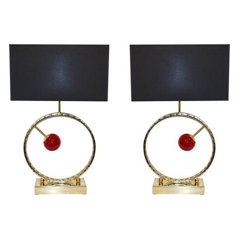 Contemporary Italian Monumental Pair of Brass & Red Murano Glass Console Lamps