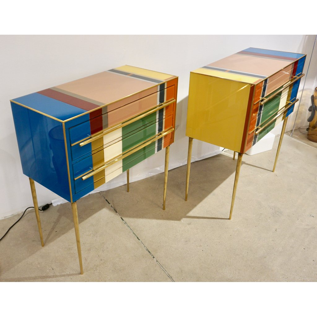 Bespoke Italian Pair of Mondrian Style Blue Green Yellow Chests / End Tables