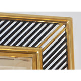 Italian Regency Moderne Brass Geometric Mirror with Black Murano Glass Baguettes
