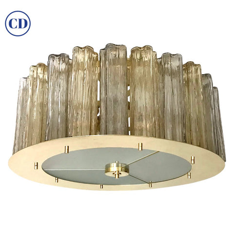 Italian Art Deco Style Crystal & Smoked Murano Glass Round Flush Mount on Brass