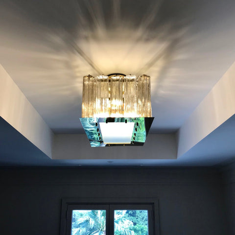 Contemporary Art Deco Style Italian Crystal Smoked Murano Glass Flush Chandelier