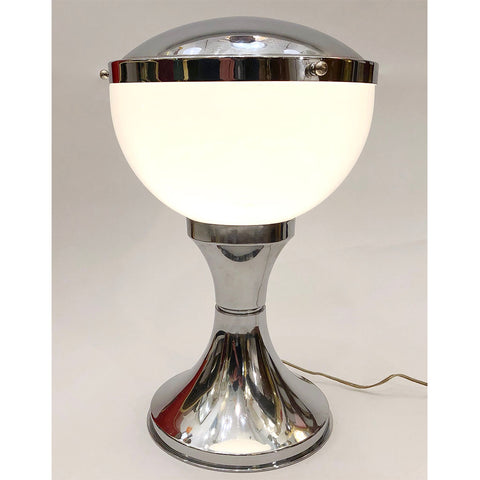 1960s Minimalist Italian Design Nickel and White Desk Lamp by Valenti & Co