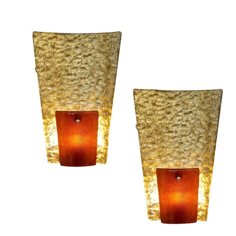 Contemporary Italian Pair of Gold and Amber/Orange Murano Glass Organic Sconces
