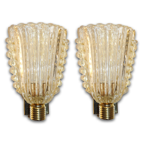 Barovier Italian Art Deco Design Crystal Gold Leaf Murano Glass Bowl Sconces