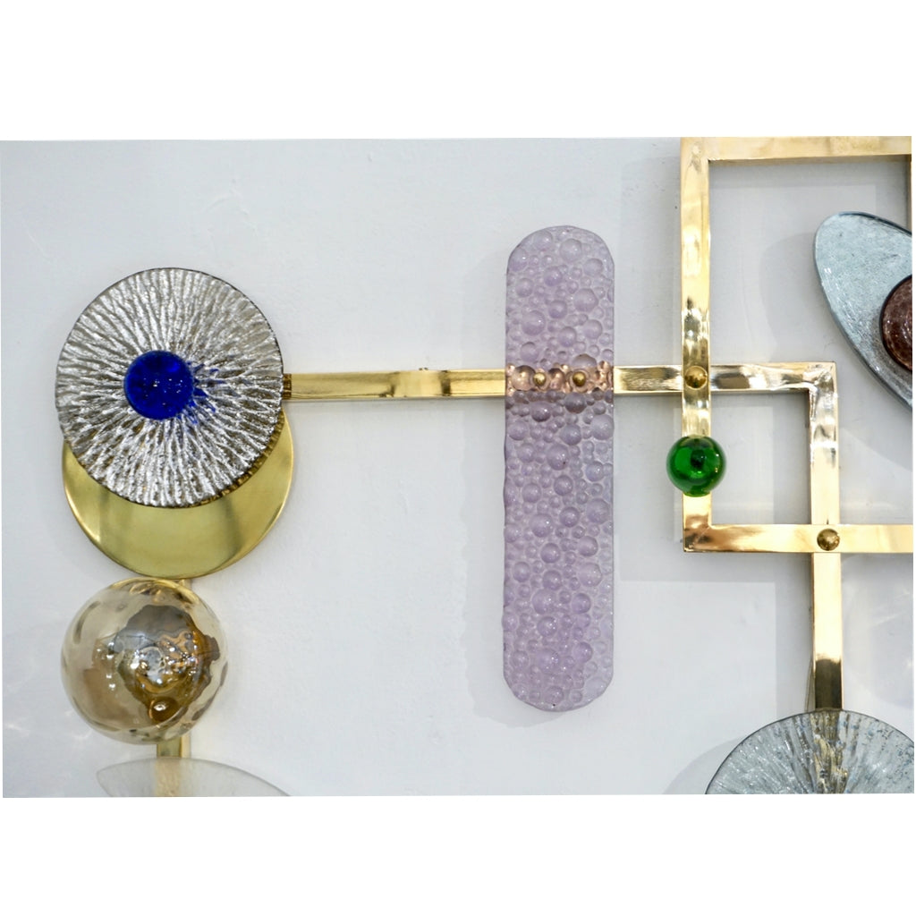 Bespoke Italian Brass Lit Wall Art with Blue Pink Purple Glass Floral Accents