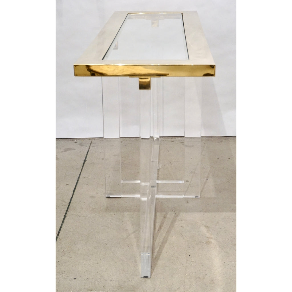 Contemporary Bespoke Modern Geometric Design Clear Lucite and Gold Steel Console