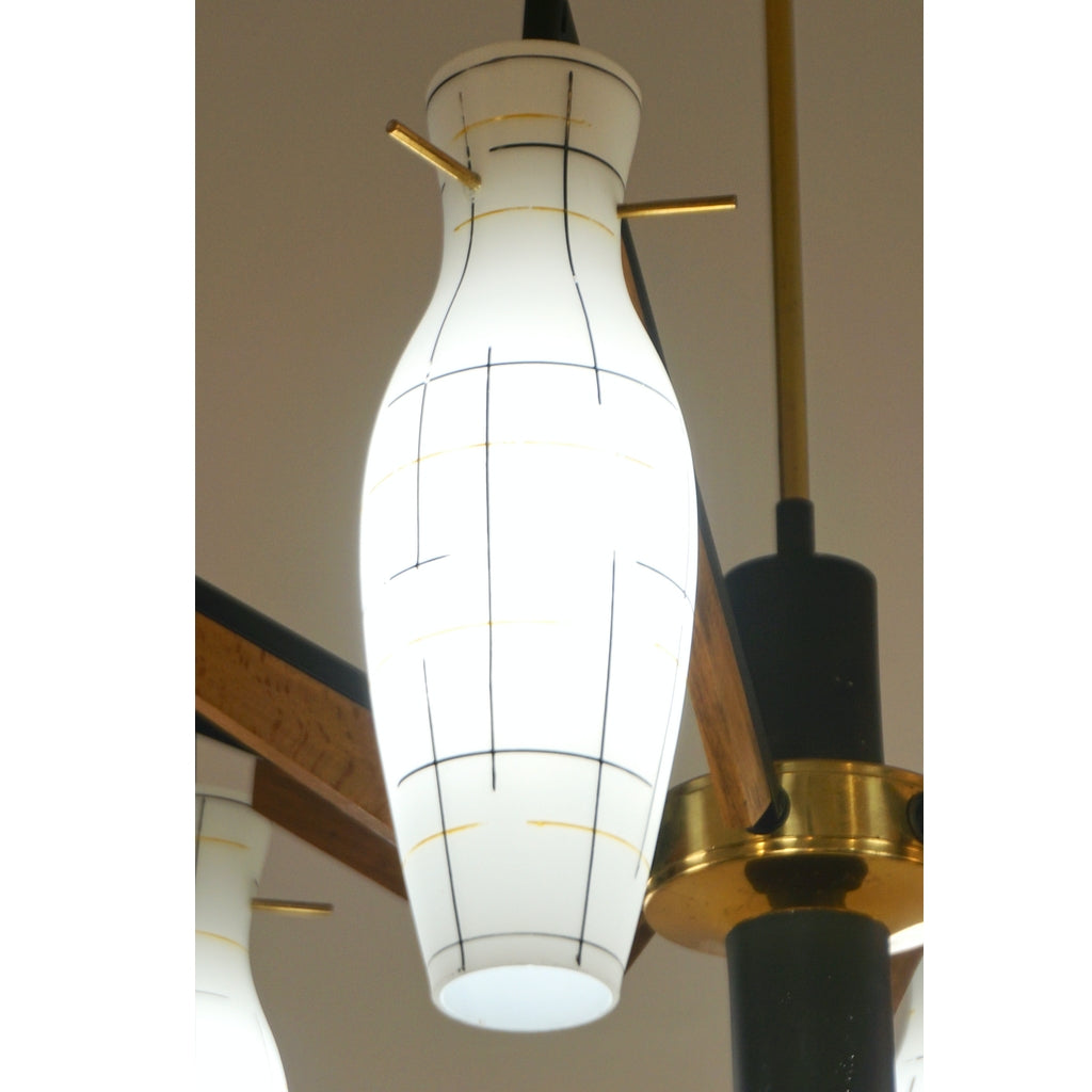 Stilnovo 1950s Italian Yellow Black White Frosted Glass 6-Light Brass Chandelier