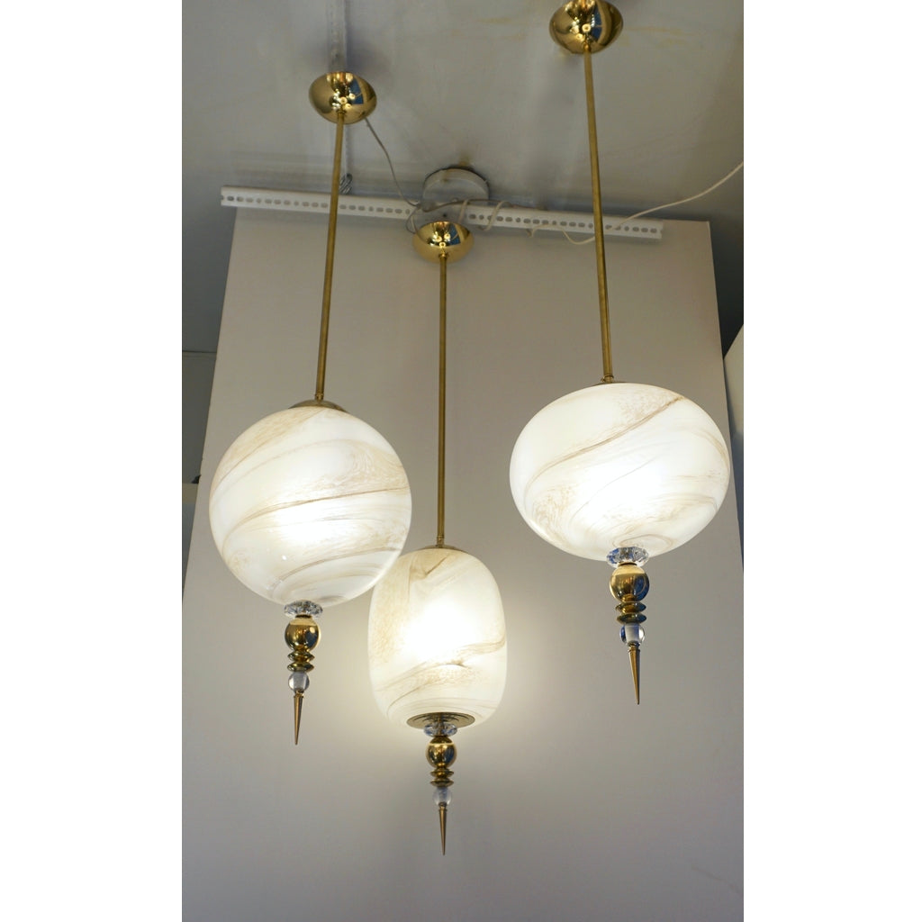 Contemporary Italian Brass and Cream White Alabaster Glass Round Pendant Light