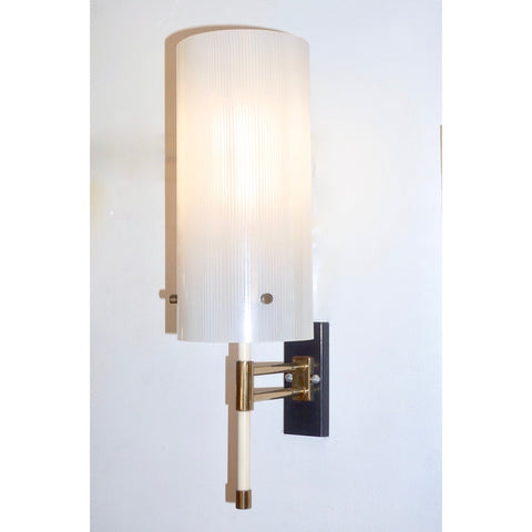 Casey Fantin 1950s Italian Modernist White Striped Frosted Glass Wall Light
