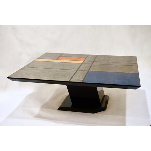 1976 Cattaneo Italian Black Lacquered Silver Grey Mondrian Decor Coffee Table