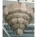 Bespoke Italian Art Deco Design Pink Green Murano Glass Leaf Chandelier
