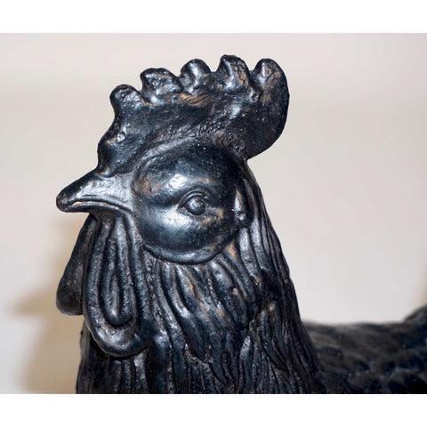 1890s Antique French Black Cast Iron Folk Art Sculpture Rooster
