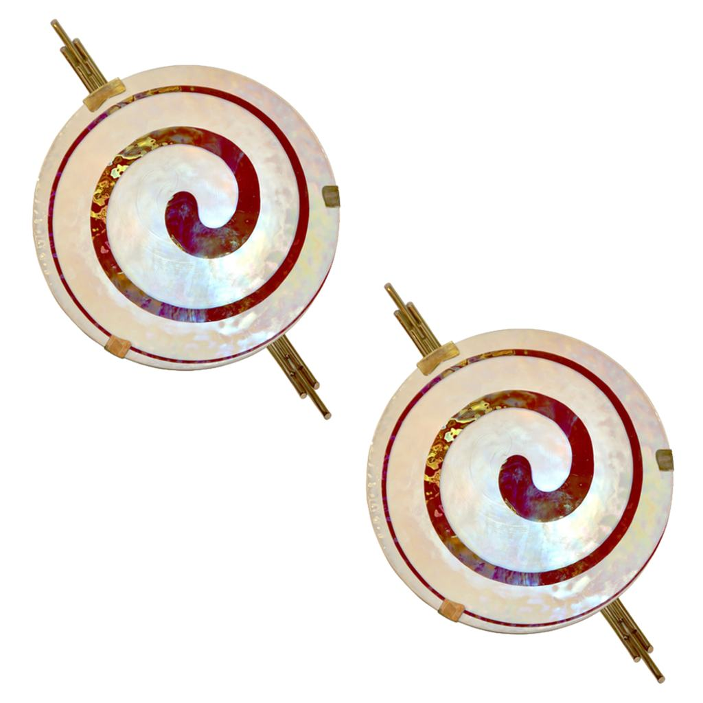 Art Deco Style Monumental Pair of Burgundy Ivory White Murano Glass Wall/Ceiling Lights - Cosulich Interiors & Antiques