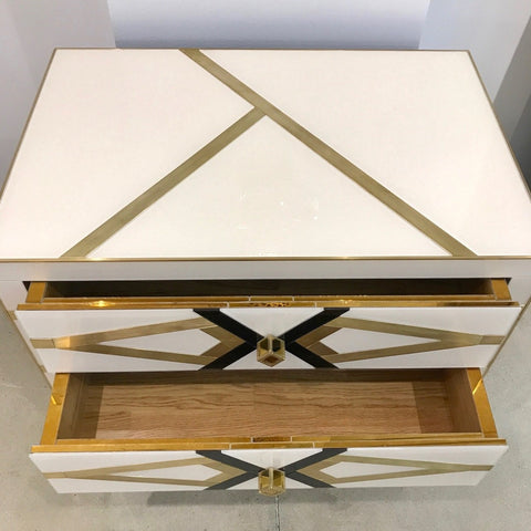 Contemporary Pair of Italian Gold Black and White Chests/Nightstands