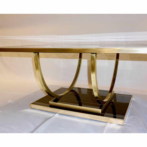 Contemporary Art Deco Italian Black Glass & Brass Sofa Table on Curved Legs