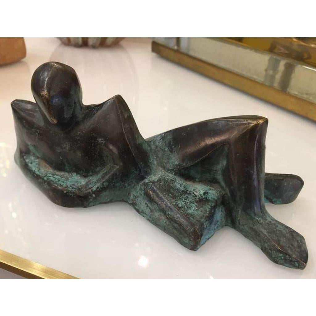 Minimalist Italian Reclining Man Bronze Sculpture Limited Edition by Giovanni Ginestroni - Cosulich Interiors & Antiques