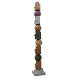 TOTEM Contemporary Italian Organic Pastel Enamel Figural Sculpture in Terracotta