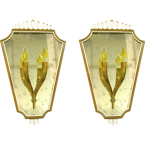 1940s Pair of Italian Mirrored Wall Lights - Cosulich Interiors & Antiques