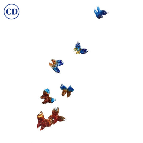 Release - Flight of Blue red Butterflies Contemporary Blown Glass Modern Art Sculpture