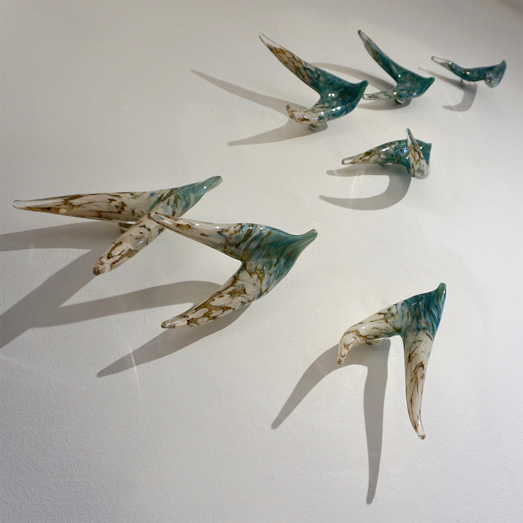 Flight of Aquamarine Birds Contemporary Blown Glass Modern Art Wall Sculpture