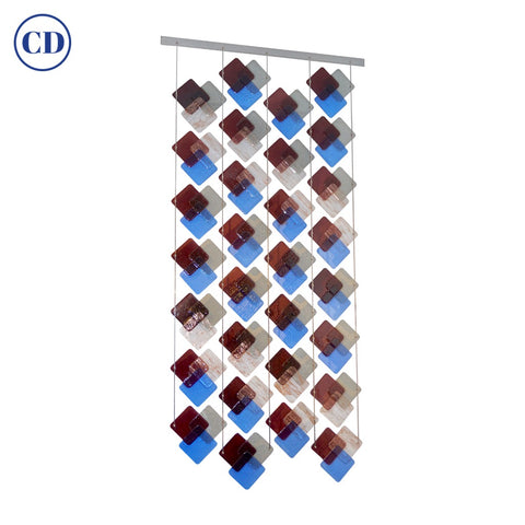 Organic Modern Italian Geometric Gray Purple Aqua Murano Glass Curtain / Divider