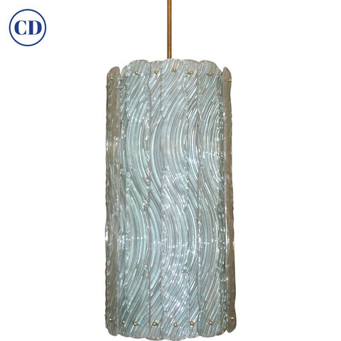 Modern Italian Aquamarine Crystal Murano Glass Tall Brass Lantern / Chandelier