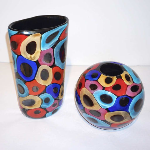 Camozzo 1990 Modern Set Black Azure Blue Red Pink Yellow Murano Glass Vases - Cosulich Interiors & Antiques