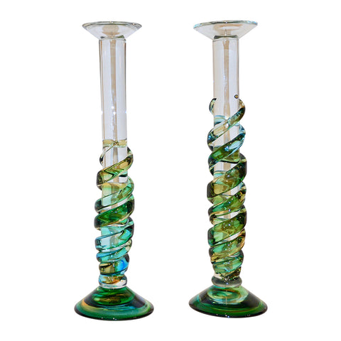 Cenedese 1970s Vintage Italian Yellow Green Aqua Blue Murano Glass Candlesticks - Cosulich Interiors & Antiques