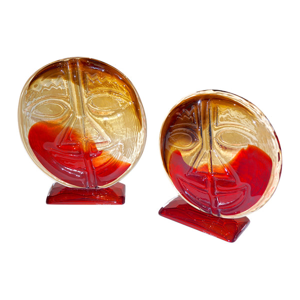 Cesare Toso 1970s Pair of Abstract Art Red and Amber Murano Glass Round Faces - Cosulich Interiors & Antiques